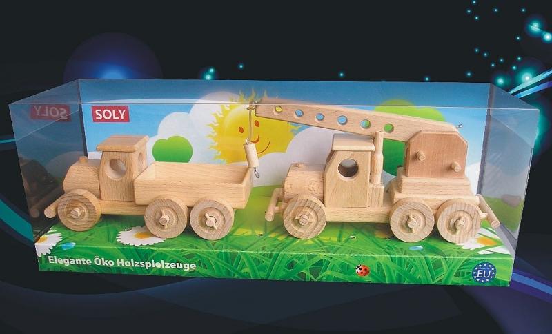 Holz-spielzeug LKW für Kinder + LKW-Kran