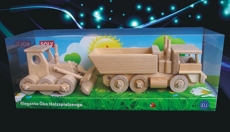 Bulldozer und LKW, Holzspielzeug für Kinder