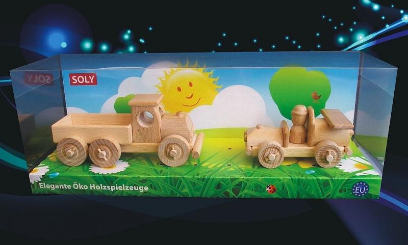 Holzspielzeug. Kinderspielzeugauto und LKW Spielzeug