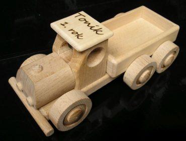 Holzspielzeug, LKW + Bulldozer