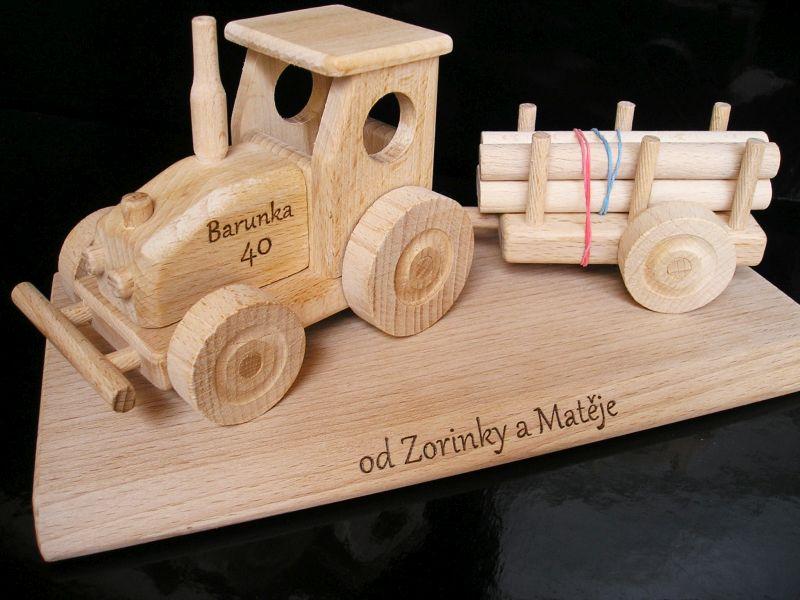 Traktor Holzgeschenke für Schubkarrenfahrer, Holzspielzeug
