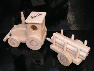 Traktor Spielzeug Holzgeschenke für Schubkarrenfahrer, Holzspielzeug