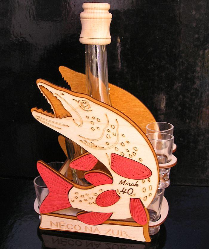 Geschenkflasch zum Geburtstag, Alkoholglas für Fischer Fisch Pike