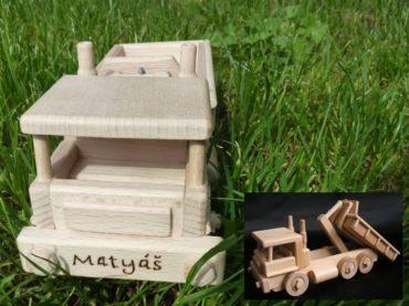 Drevené nákladné auto s kontajnerom | drevené hračky