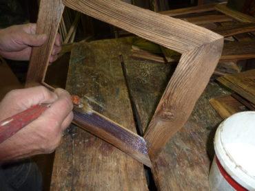 Retro-Holzrahmen für Bilder und Fotos, Rahmen, Rahmen, Fotorahmen, Natur, Weiß, Blau, Grün