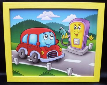 Tankstelle Spielzeugauto, Tankstelle Kinder gemalte Bilder Bilder für Kinderzimmer