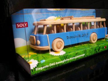 Bus, Blauer Holzbus Spielzeug
