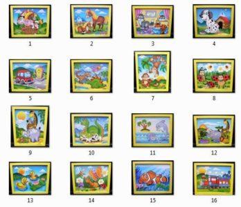Kinderbilder an der Wand im Raum