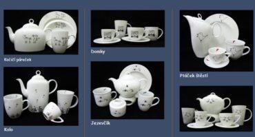 Tschechisches Porzellan mit Engelsmotiv eines Autors, Teekannen, Bechern, Tassen