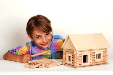 Cottage Blockhaus Baukasten Holzset Spielzeug für Kinder