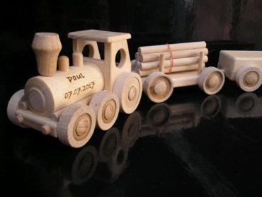 Holzzug Zug Holzspielzeug Spielzeug Geschenke für Kinder Fahrer