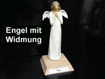 Engels Statuette, Figur auf dem Altar mit Widmung Engelsgeschenke