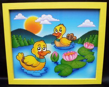 Enten, Entlein Baby gemalte Bilder für Kinderzimmer Teich, See