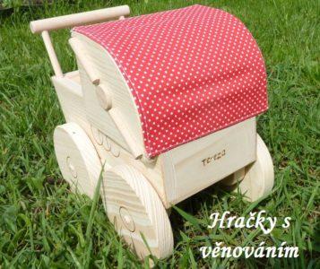 Retro-Kinderwagen aus Holz für Puppen. Holzspielzeug für Mädchen.