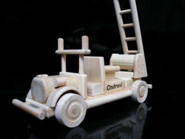 Feuerwehrauto, Wagen Holzspielzeug