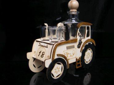 Holztraktor mit Geburtstagsflasche Geschenkflasche für Traktorfahrer Alkoholglas