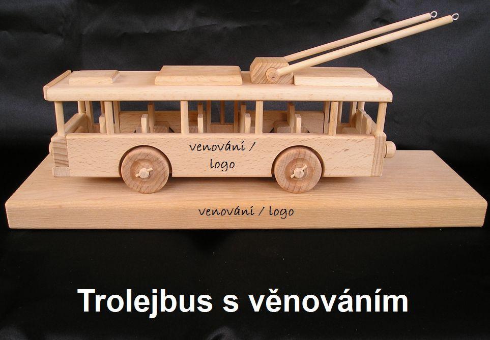 Obus, Trolleybus Holzwagen auf einem Sockel – Spielzeug Geschenke für Fahrer