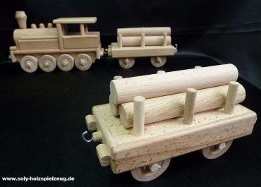 Wagen mit Holz für eine Dampflokomotive Holzspielzeug