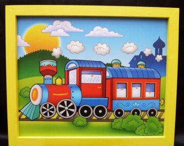 Zug, Lokomotive, Eisenbahnen, Gleise, fröhliche Bilder ins Kinderzimmer