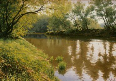 rieka priroda krajina reprodukcie obrazov drevené ramy