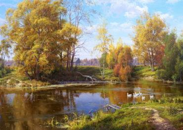 priroda krajina jeseň reprodukcie obrazov drevené ramy