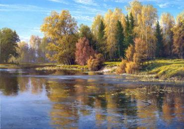 priroda rieka krajina Ručne maľované obrazy prírody