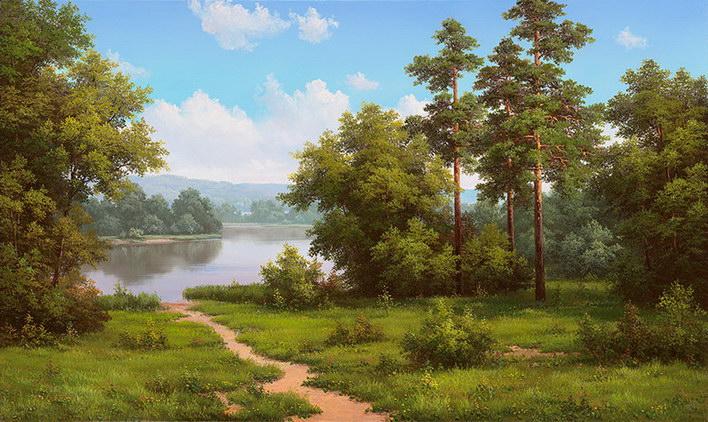 Natur Landschaft Reproduktion Gemälde Holzrahmen