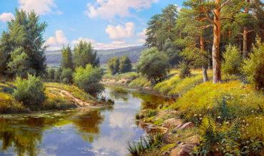 Reka krajina reprodukcie obrazov drevené ramy
