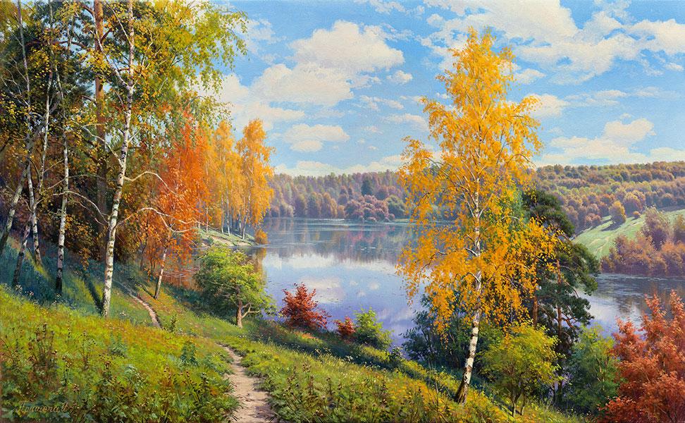 Birke Natur Landschaft Reproduktion Gemälde von Holzrahmen